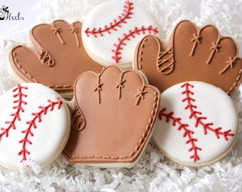 Baseball Decorated Cookies, Baseball and Glove Cookies, Baseball Glove Cookies, Boys Birthday Cookies, Baseball, Decorated cookies