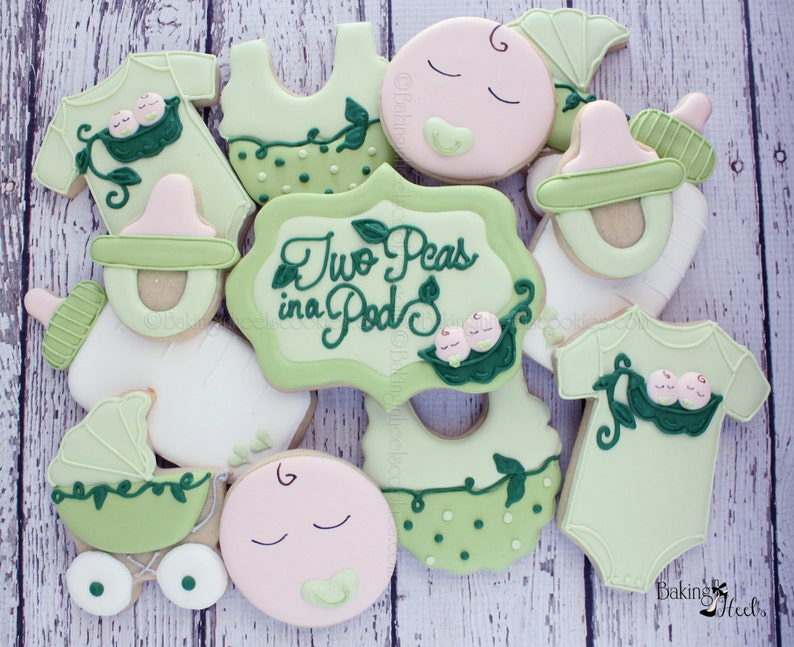 Twin Baby Shower Cookies Pea In A Pod Cookies Gender Neutral Etsy