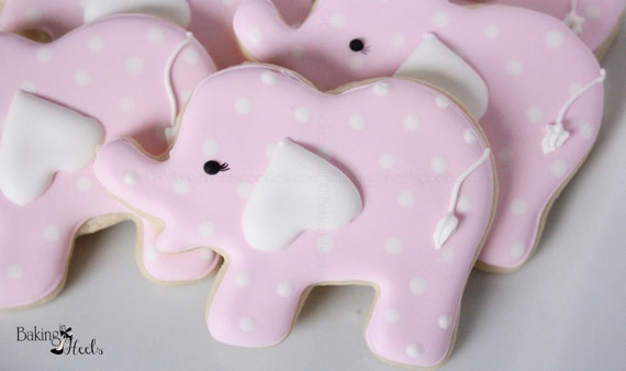 Elephant Baby Shower Cookies Pink Elephant Cookies Baby Etsy