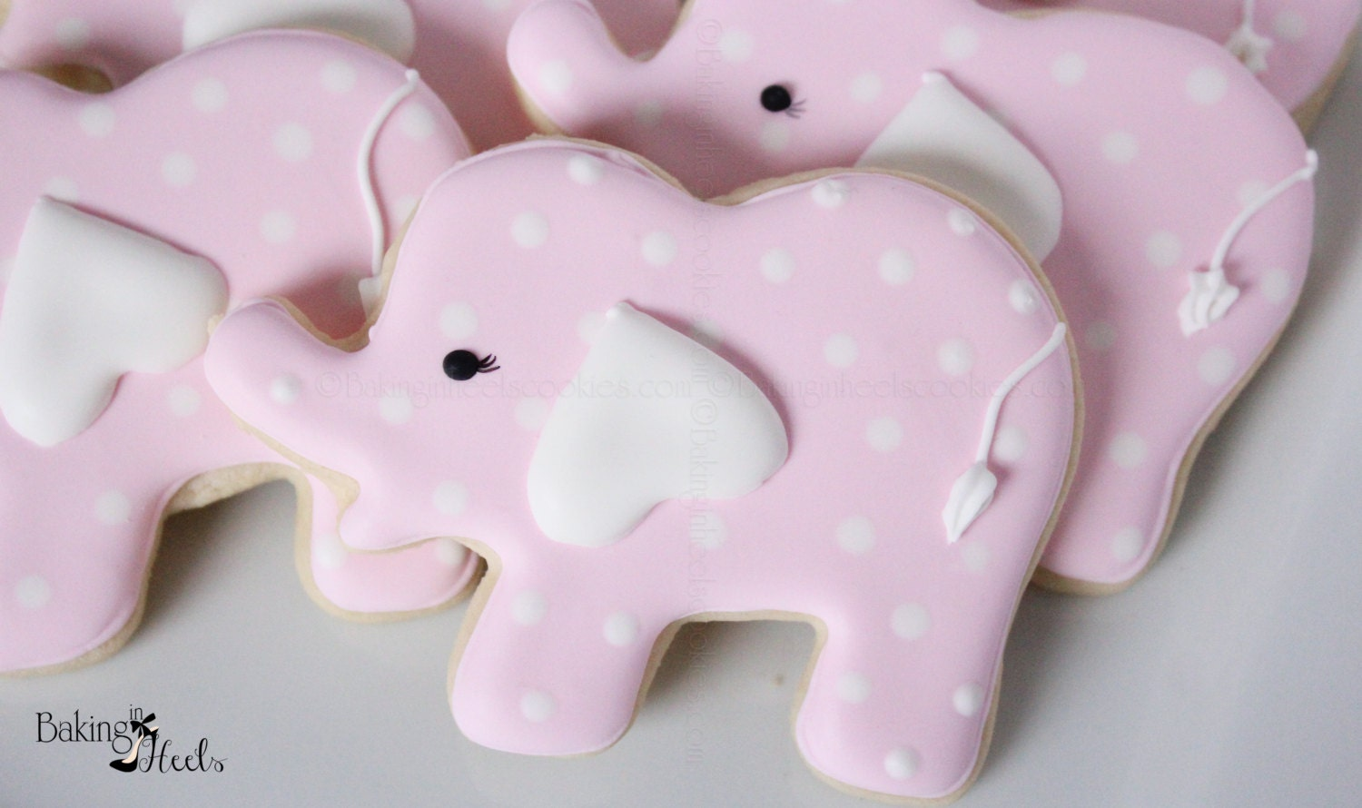 Elephant Baby Shower Cookies Pink Elephant Cookies Baby | Etsy