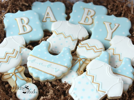 Chevron Baby Shower Cookies Its A Boy Decorated Cookies Etsy