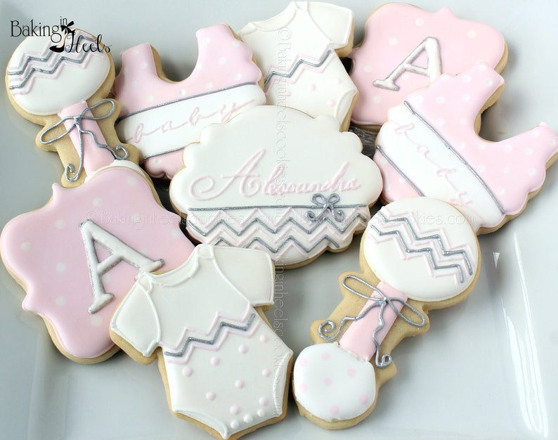 Chevron Baby Shower Cookies It S A Girl Decorated Etsy