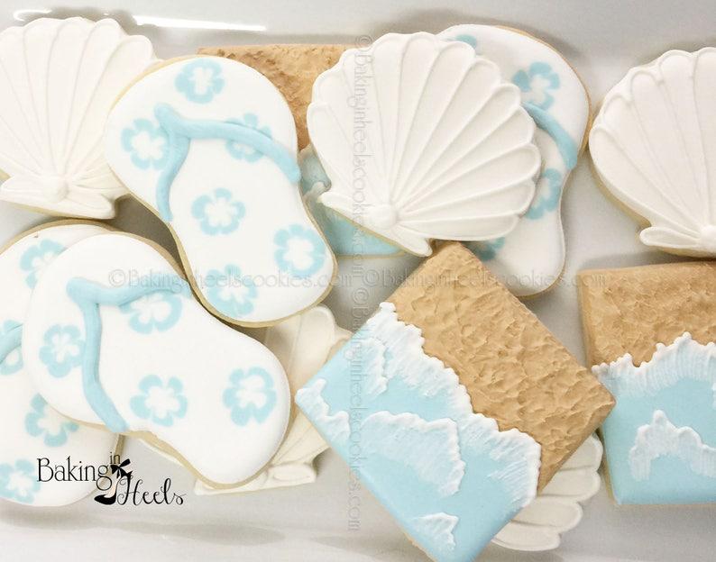 656fec45249a0 Beach Themed Cookies Beach Wedding Favors Flip Flop Cookies
