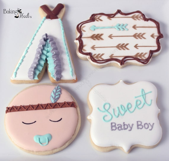 Boho Baby Boy Shower Decorated Cookies Indian Baby Bohemian Etsy