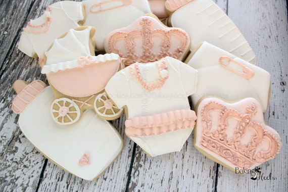 Rose Gold Baby Shower Cookies Royal Baby Shower Baby Shower Etsy