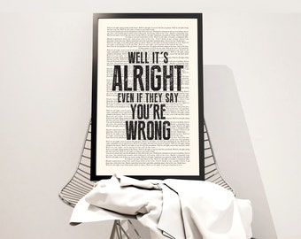 End of the Line Book Page - The Traveling Wilbury's Lyrics Typography Print