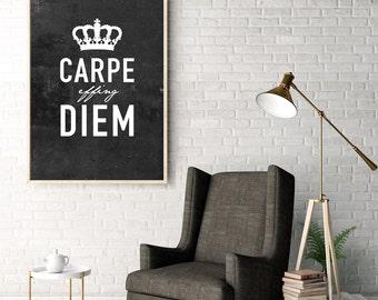 Carpe Effing Diem - Latin - Seize the day - Typography print