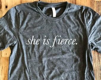 She Is Fierce Tee - Crew Neck Unisex - Shakespeare, A Midsummer Night's Dream - Typography Design Shirt