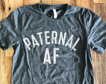 Paternal AF - Dad Life V-Neck Tee - Dark Heather Gray With White Print