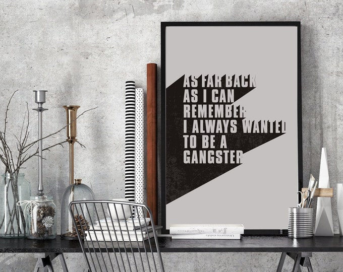 Featured listing image: Goodfellas Poster | I Always Wanted to Be A Gangster Quote | Retro Style Print
