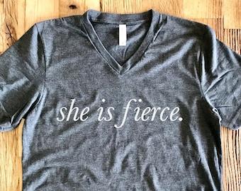She Is Fierce Tee - V-Neck Unisex - Shakespeare, A Midsummer Night's Dream - Typography Design Shirt