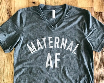 Maternal AF - Mom Life V-Neck Tee - Dark Heather Gray With White Print