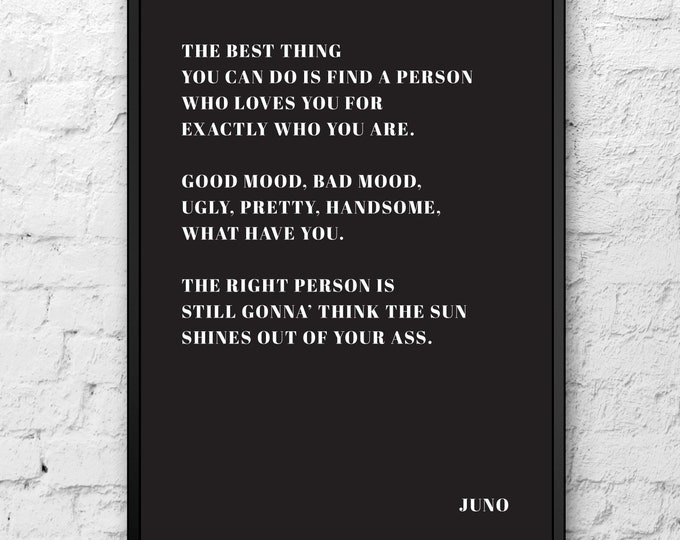 Featured listing image: Juno Print | True Love Quote Poster