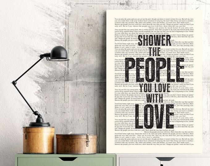 Featured listing image: Shower The People Poster | James Taylor Lyrics Vintage Style Book Page Print