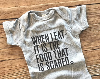 When I Eat It Is the Food That is Scared -- Ron Swanson Quote Baby Bodysuit -- Parks and Rec -- Typography Design Baby Shirt