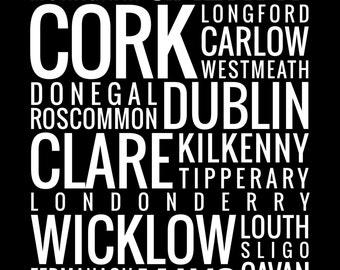 Counties of Ireland - Typography Print