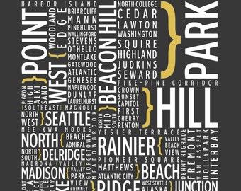 Seattle, Washington Neighborhoods - Typography Print