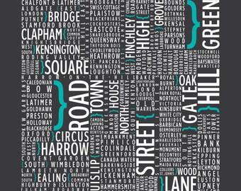 London, England - UK - Underground - Typography poster print, wall art