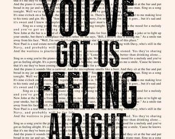 Piano Man Book Page - Billy Joel Lyrics Typography Print