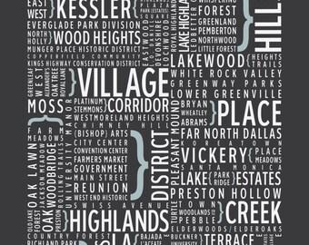 Dallas, Texas Neighborhoods - Typography Print
