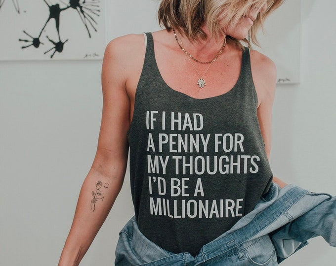 Featured listing image: The Beastie Boys Top -- Loose Fit Ladies' Tank Top -- Typography Design -- Shadrach Lyrics -- If I Had A Penny for My Thoughts