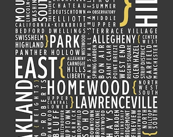 Pittsburgh, Pennsylvania Neighborhoods - City Pride Typography Art Print, Industrial Design Poster, Studio Decor
