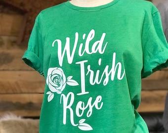 Wild Irish Rose - Crew Neck Unisex Tee - Typography Design