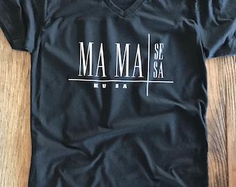 Mama Se Mama Sa Mamakusa Tee - V-Neck Unisex - Michael JacksonLyrics - Typography Design Shirt - Mom Life - Momma