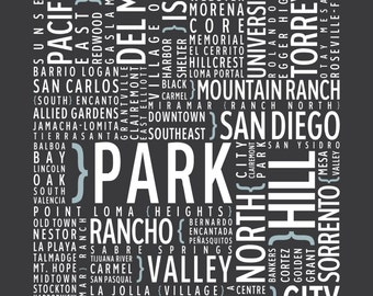 San Diego, California Neighborhoods - Typography Print