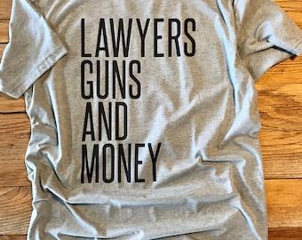 Lawyers, Guns, and Money Tee - Crew Neck Unisex Tee - Warren Zevon TShirt - Typography Lyrics Design Shirt