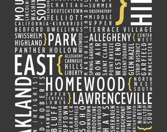 Pittsburgh, Pennsylvania Neighborhoods - Typography Print