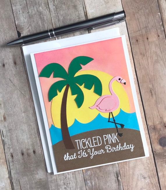 Handmade Birthday Card Birthday Card Handmade Flamingo Birthday Card Flamingo Birthday Card Handmade Tickled Pink Flamingo Birthday Card