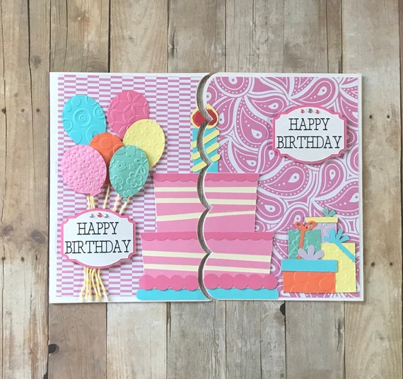Twin Birthday Cards Paper Handmade Greeting Card Pink Happy