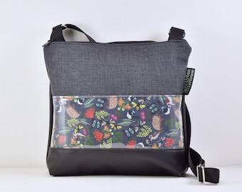 947702ae5b2 Handmade crossbody bag. Charcoal upholstery fabric