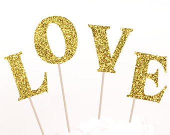 Love Cake Topper, Love Glitter Sparkle Chic Wedding decor, Glitter both sides.