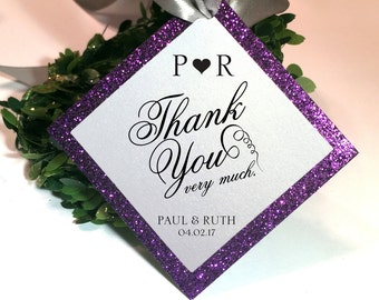 Thank you Tags, Custom. Glitter theme. Favor tags, Welcome bag tags, Monogram wedding tags.  Baptism tags, Enclosure Medallion.