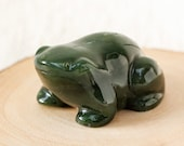 Green Nephrite Jade Frog, Carved Green Frog, Good Luck Frog, Canadian Nephrite, 35th Anniversary Gift