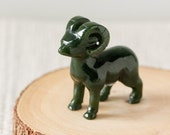 Green Nephrite Jade Sheep, Carved Jade Ram, Protective Crystal, Healing Jade, 35th Anniversary Gift, Gift for Dad