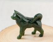 Nephrite Jade Husky Dog, Hand Carved Jade Dog, Green Jade Carving, Good Luck Jade, Healing Jade, 35th Anniversary Gift