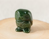 Nephrite Jade Owl, Carved Green Jade Owl, Protective Crystal, Good Luck Owl, Healing Jade, 35th Anniversary Gift