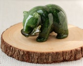 Green Nephrite Jade Grizzly Bear with Salmon Fish, Carved Jade Bear with Fish, Protective Crystal, 35th Anniversary Gift, Wealth Crystal