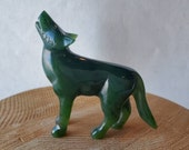 Green Nephrite Jade Wolf, Carved Jade Standing Wold,