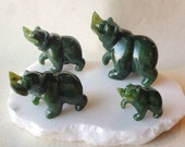 Green Nephrite Jade Grizzly Bear with Salmon Fish, Carved Jade Bear with Fish, Protective Crystal, 35th Anniversary Gift, Good Luck Jade