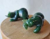 Green Nephrite Jade Bear Head Turn, Carved Jade Bear, Protective Crystal, 35th Anniversary Gift, Wealth Crystal