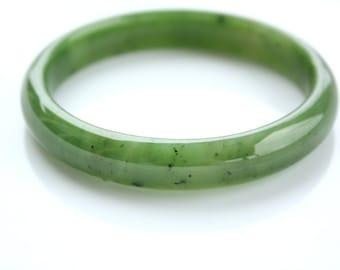 Genuine Jade Bangle, Comfort Fit, A Grade, Heirloom Green Jade Bangle, Carved Jade Bracelet