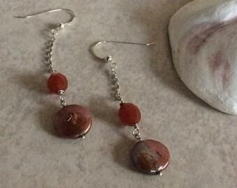 Carnelian Pearl Earrings