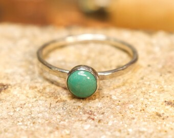 Turquoise and Silver Stacking Ring Hammered Silver Wire Rustic Minimalist Woman, Birthday Gift   #R122