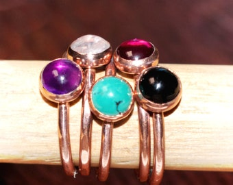 Stacking Ring Copper Wire and One 6MM Bezel Set Gem Minimalist Woman Amethyst, Black Onyx, Moon Stone, Turquoise, Red Ruby R-120