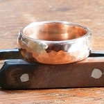 Wide Thick Hammered Copper Ring Domed Profile Rustic Minimalist Men or Women #R119
