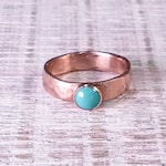 Copper Ring and Turquoise Copper Band Forged And Hammered With 6mm Turquoise Cabochon Rustic Minimalist Mens or Womens  #R118